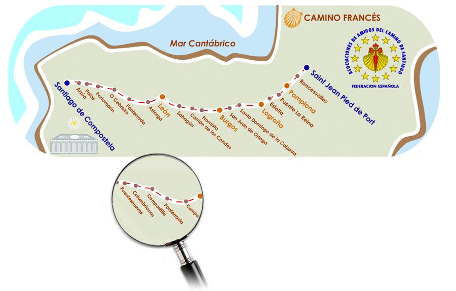 Mapa: Federación Española de Asociaciones de Amigos del Camino de Santiago.